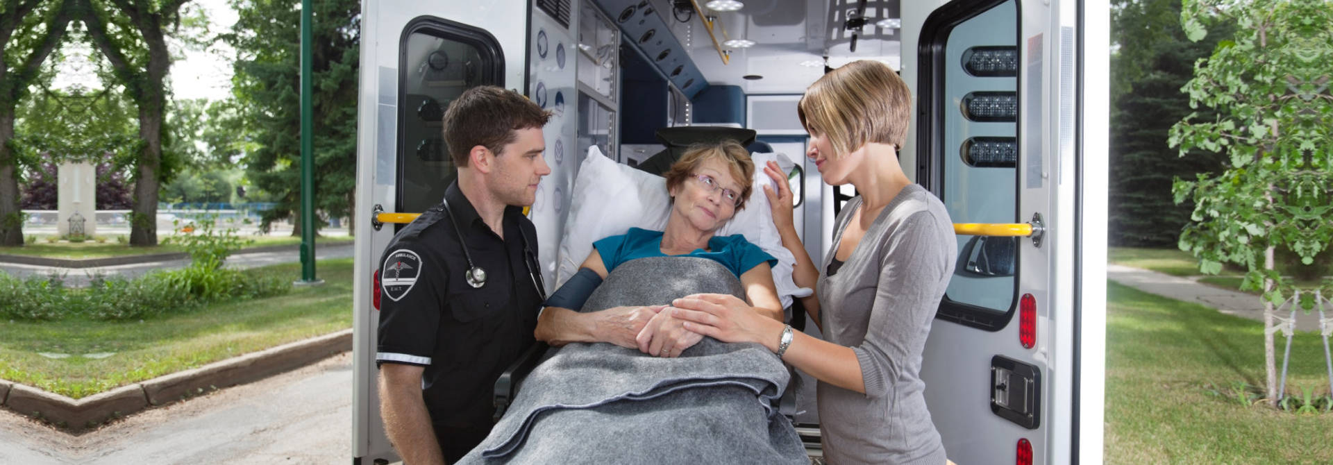 Patient inside an ambulance vehicle